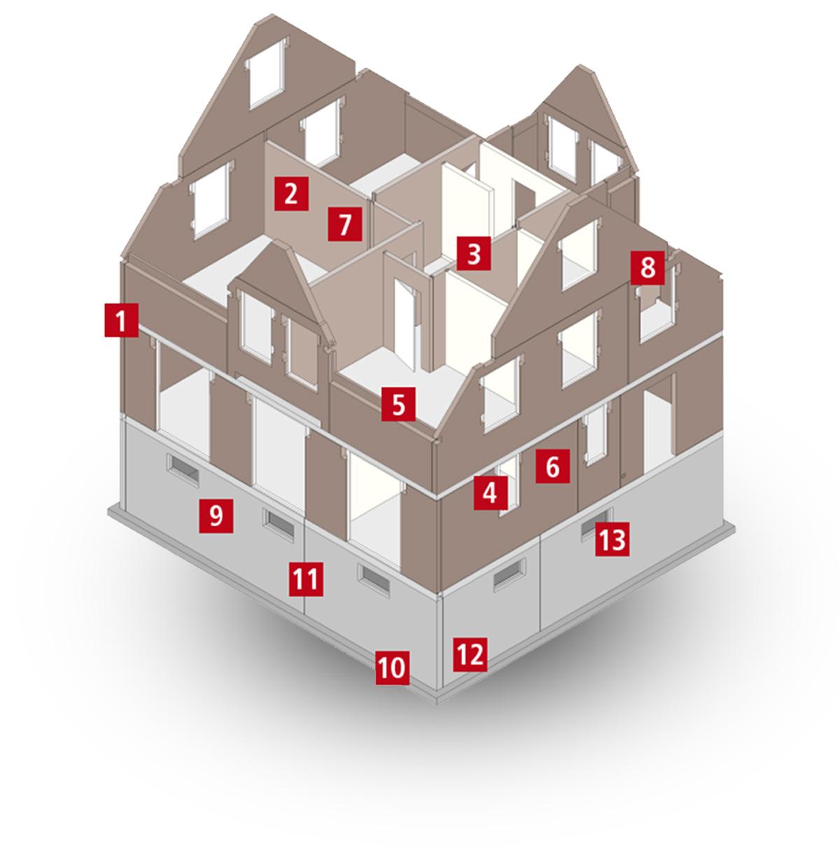 Isometrie eines Rohbausystems